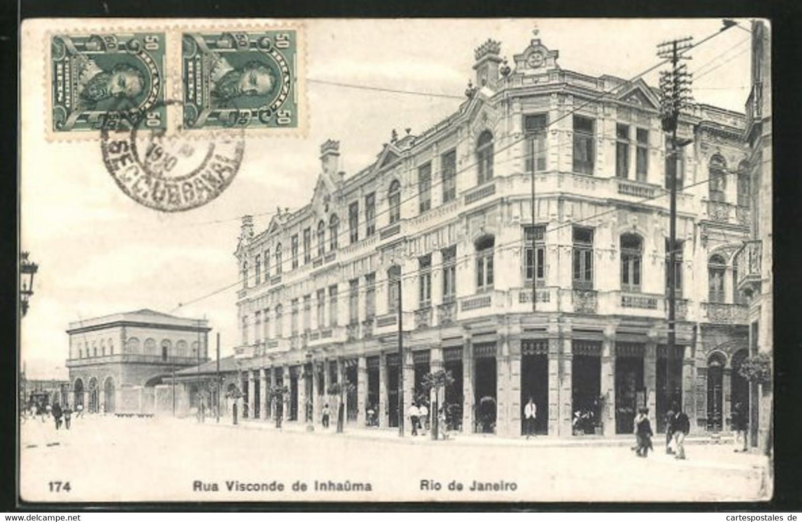AK Rio De Janeiro, Rus Visconde De Inhaûma, Strassenpartie Mit Prachtbauten - Brasilien