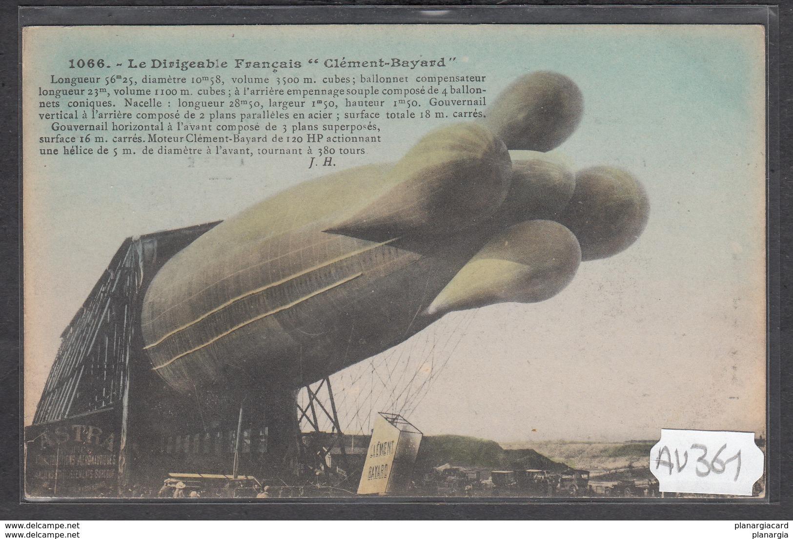 1922 AV361 AK PC CPA LE DIRIGEABLE FRANCAIS CLEMENT BAYARD N C TTB - Dirigibili