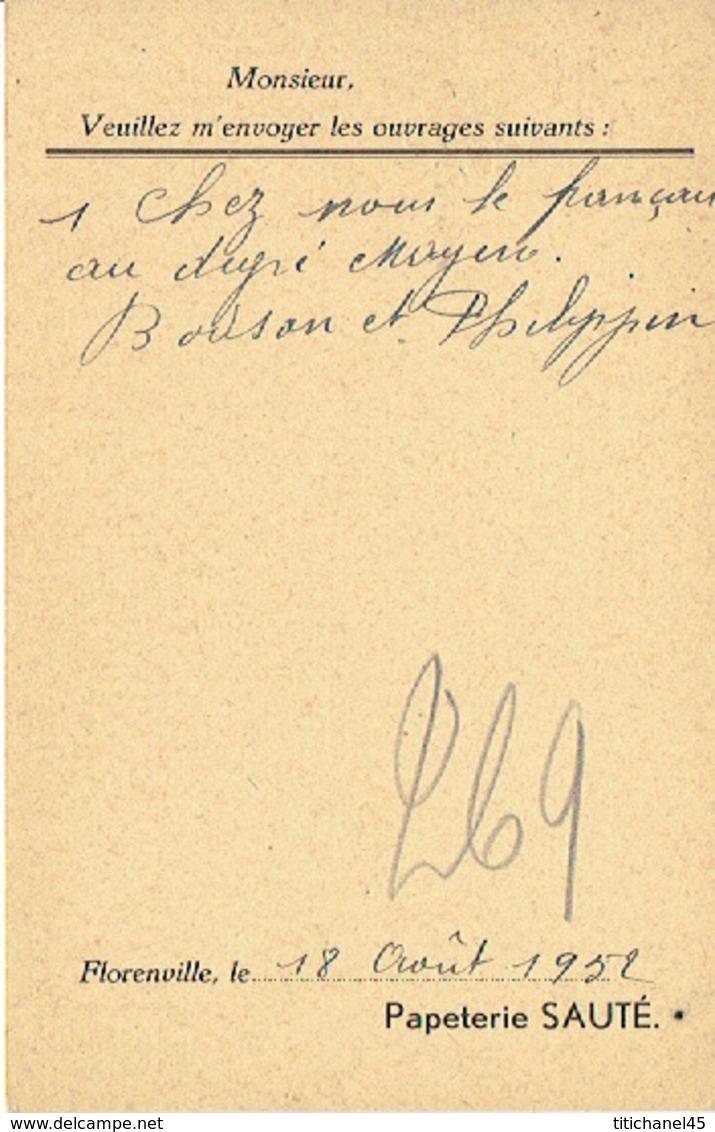 CP Publicitaire FLORENVILLE 1952 - Papeterie SAUTE - Florenville