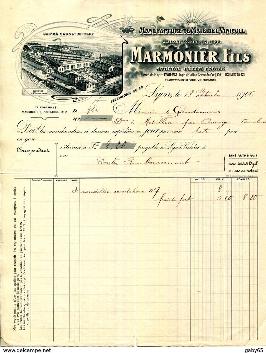 LYON.MANUFACTURE DE MATERIEL VINICOLE.MARMONIER FILS AVENUE FELIX FAURE.USINE CORNE DE CERF. - Landwirtschaft