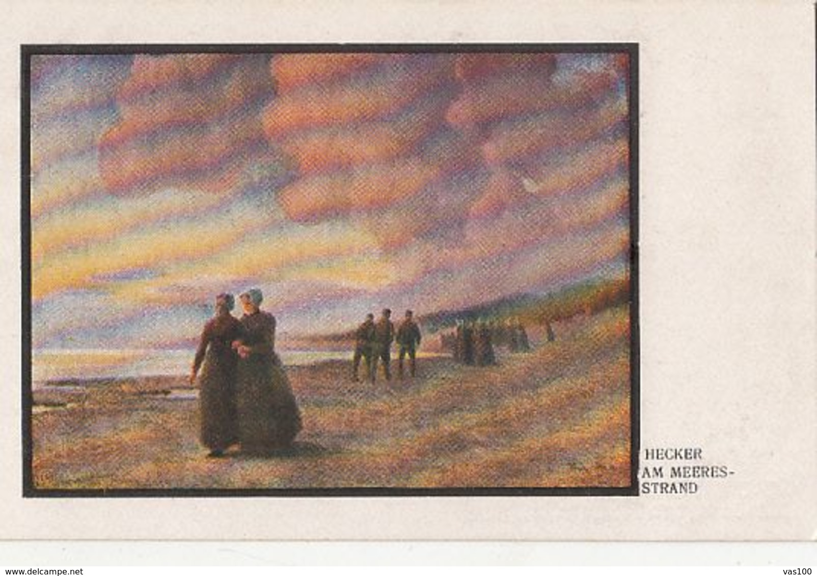 CPA FINE ARTS, PAINTINGS, HECKER- ON THE SEA BEACH - Malerei & Gemälde
