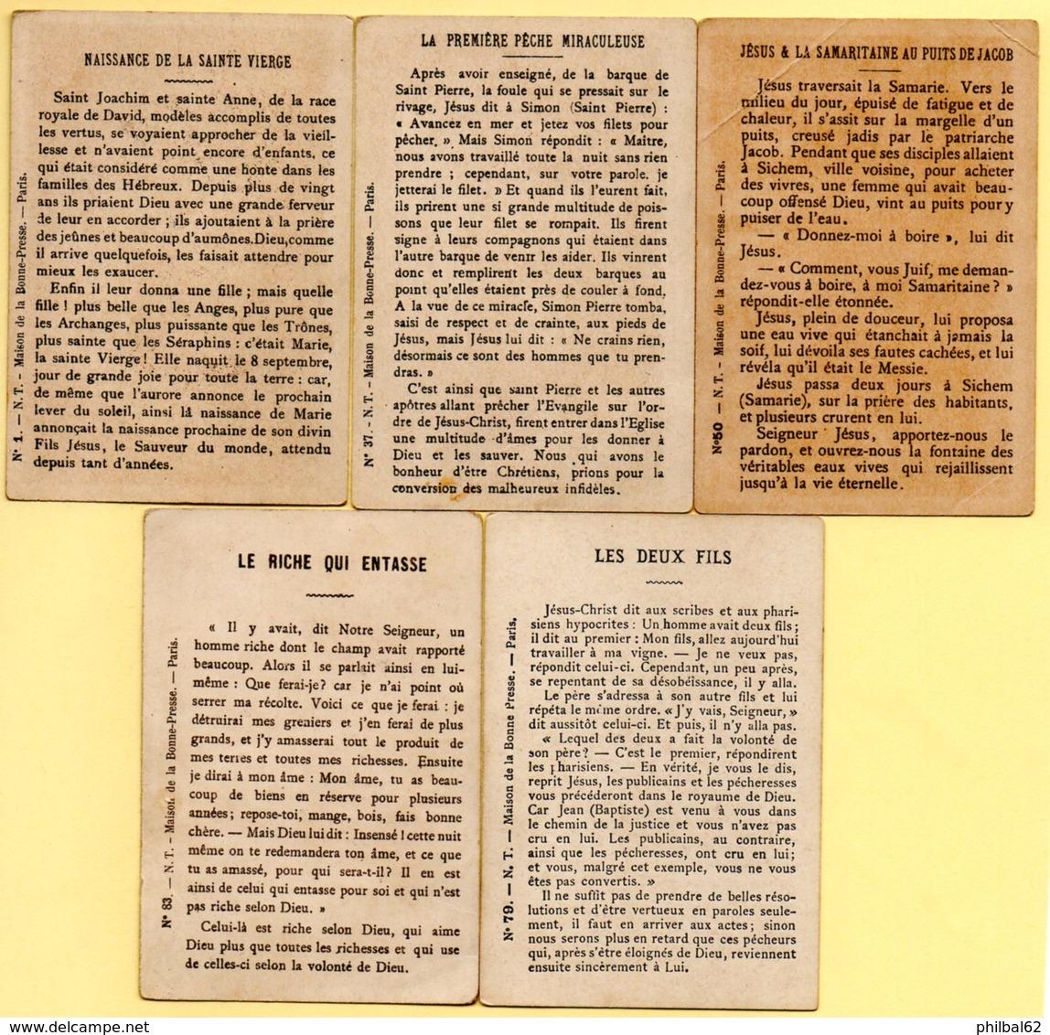 Edition Maison De La Bonne Presse. Lot De 5 Chromos Religion. - Imágenes Religiosas