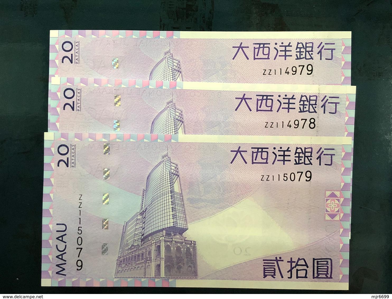 BNU - BANCO NACIONAL ULTRAMARINO 2005, 20 PATACAS UNC / ZZ PREFIX X LOT OF 3 BANK NOTES - Macao