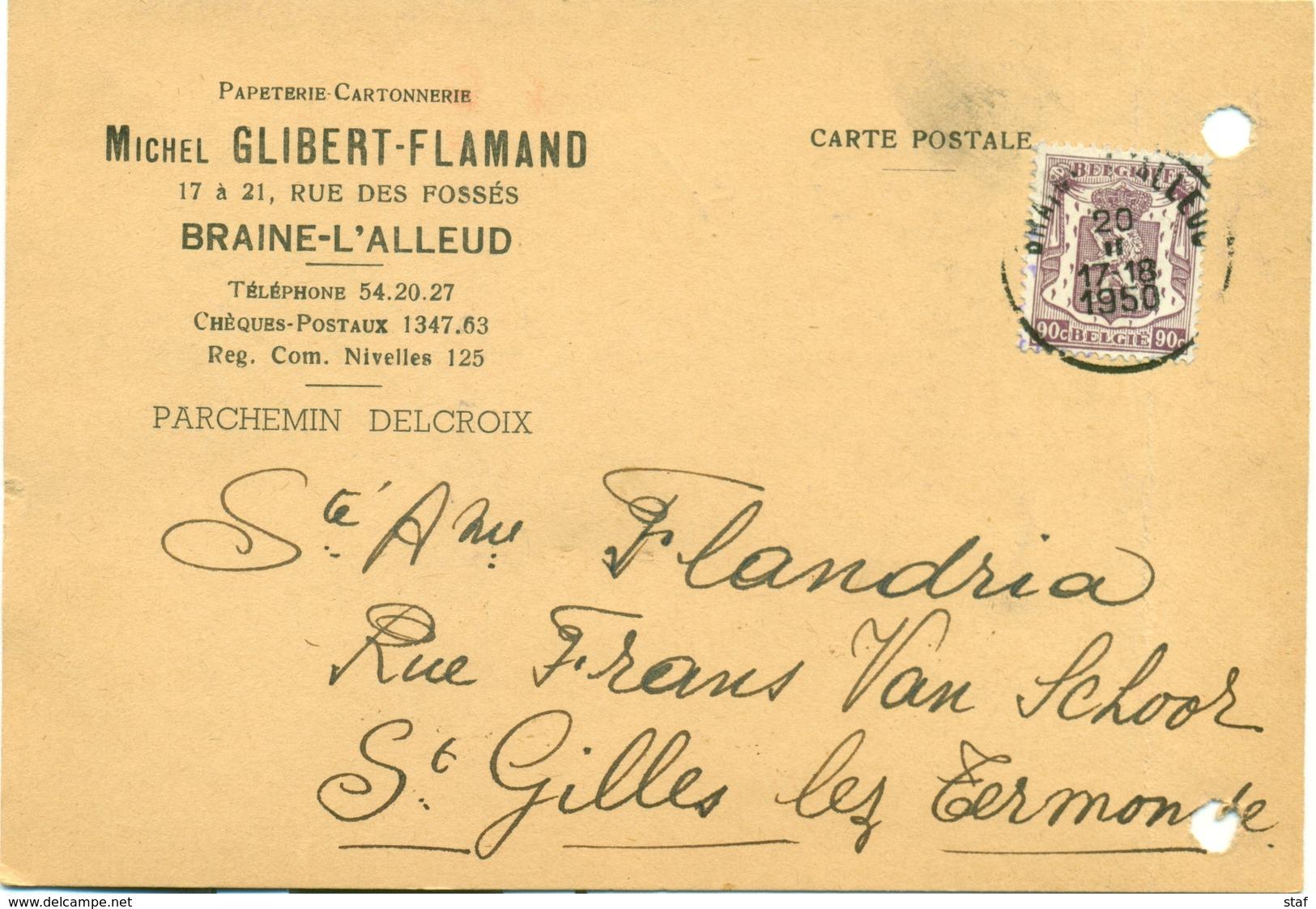 Papeterie Cartonnerie Michel Glibert - Flamand à Braine-l'-Alleud - 1950 - Printing & Stationeries