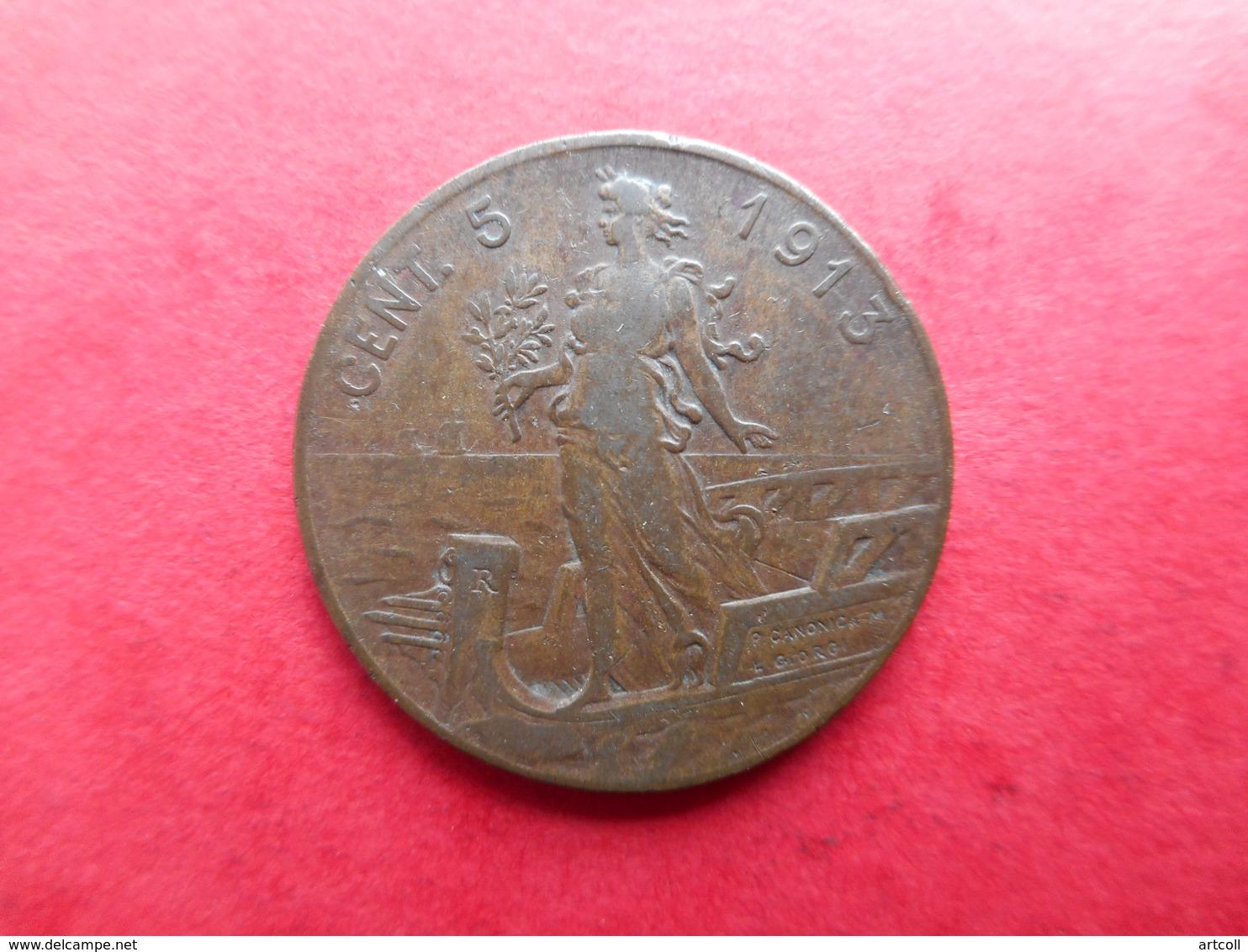 Italy 5 Centesimi 1913 Vittorio Emanuele III - 1861-1946 : Royaume