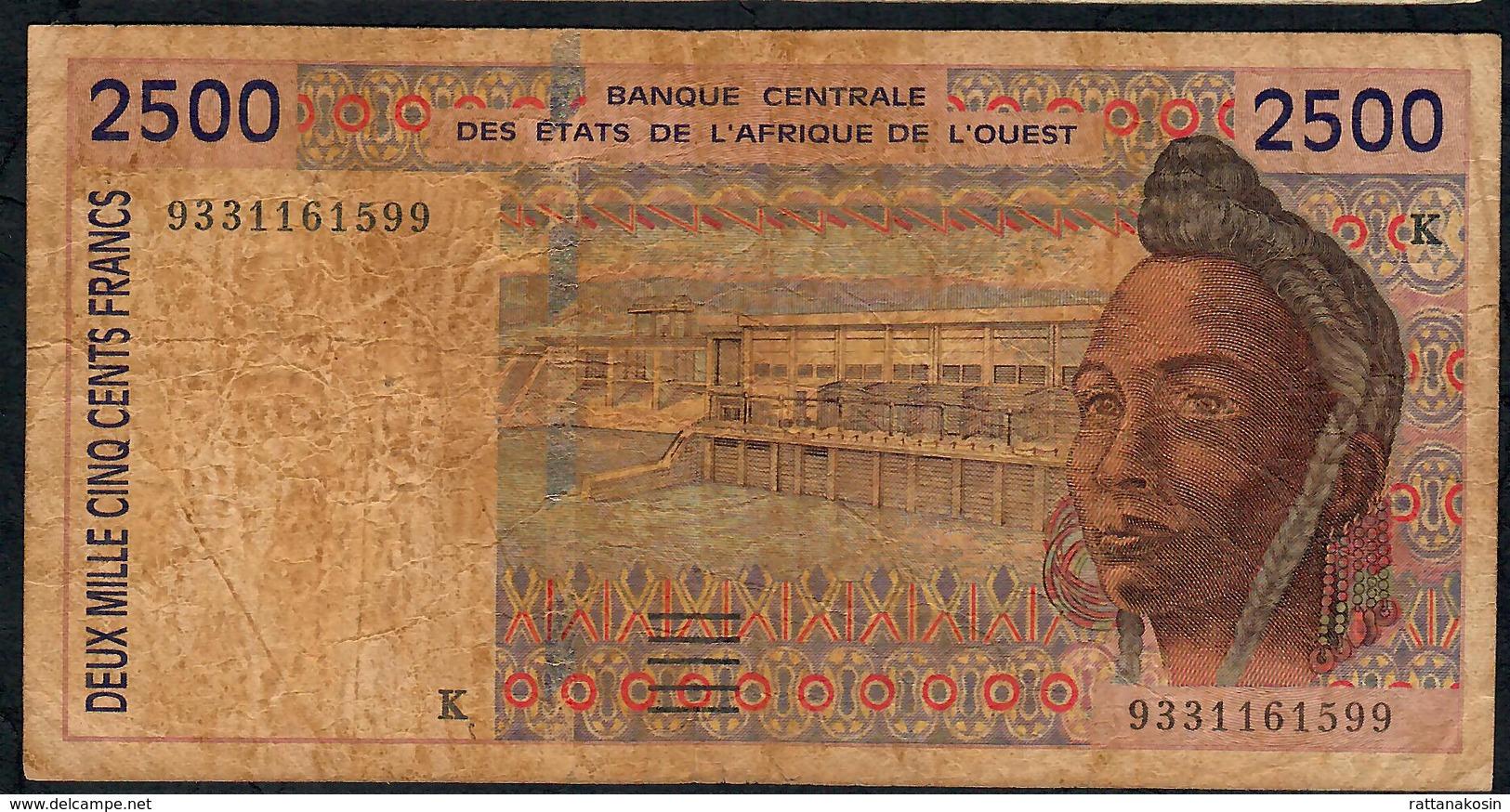 W.A.S. SENEGAL P712Kb 2500 FRANCS (19)93. FINE - Sénégal
