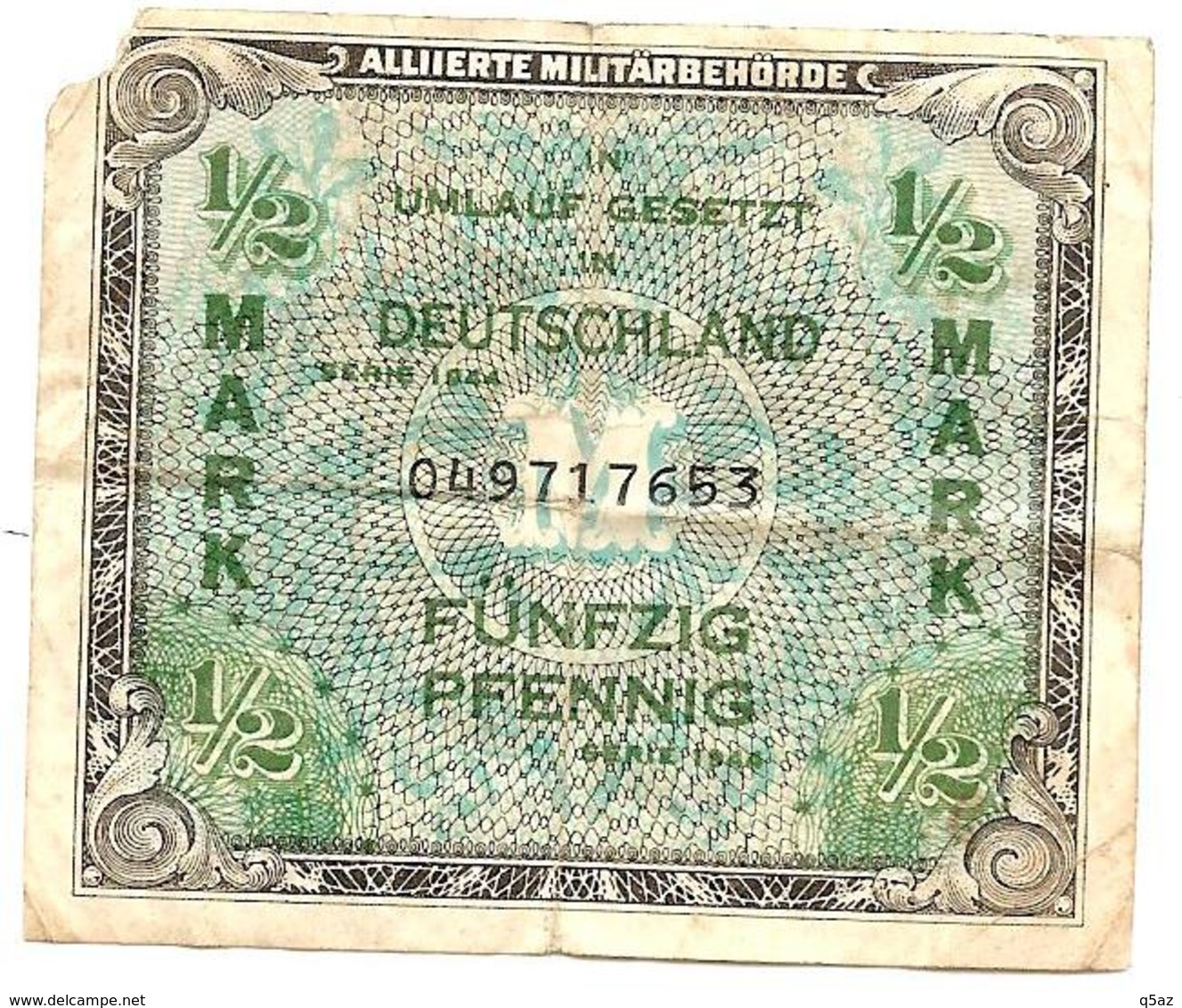 Jb6.a- 1/2 Mark Der Alliierten Militärbehörde 1944, , Umlauf Gesetzt Deutschland - Banknote Allemagne Germany - [ 4] 1933-1945 : Third Reich