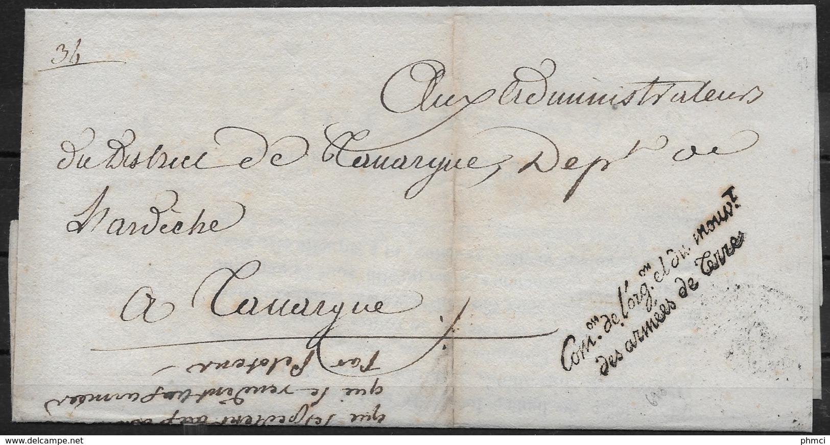 Lettre Du 22 Brumaire De L'an 3 De La Commission De L'Organisation Et Du Mouvement Des Armées De Terre Pour Tanargue - Postmark Collection (Covers)