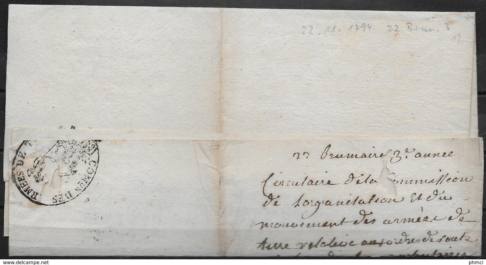 Lettre Du 22 Brumaire De L'an 3 De La Commission De L'Organisation Et Du Mouvement Des Armées De Terre Pour Tanargue - Marcophilie (Lettres)