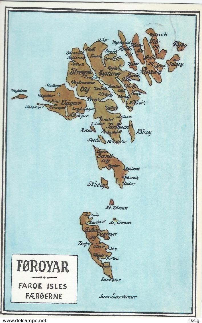 Faroe Islands - Føroyar. Map. Used Torshavn 1972.  S-4371 - Cartes Géographiques