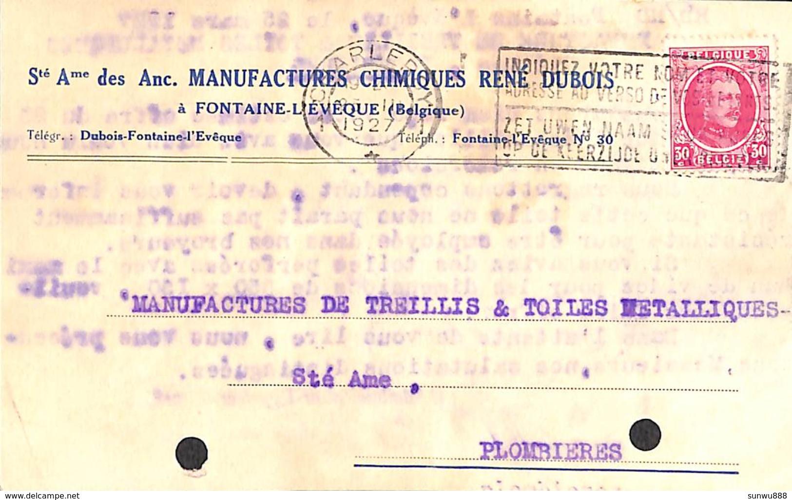 Carte Postale Publicitaire - SA Anc. Manufactures Chimiques René Dubois, Fontaine L'Evêque 1927 - Fontaine-l'Evêque