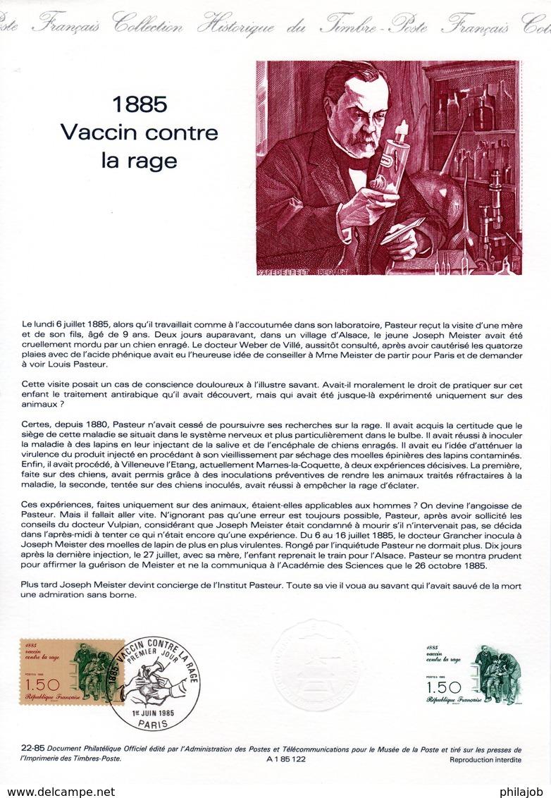 """"""" VACCIN CONTRE LA RAGE / PASTEUR """" Sur Document Philatélique Officiel De 1985 N° YT 2371. DPO - Louis Pasteur"""