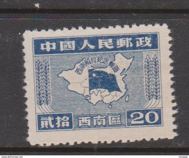 China  SouthwestChina Scott 8L17 1950 Map 20c Dark Blue Mint - South-Western China 1949-50