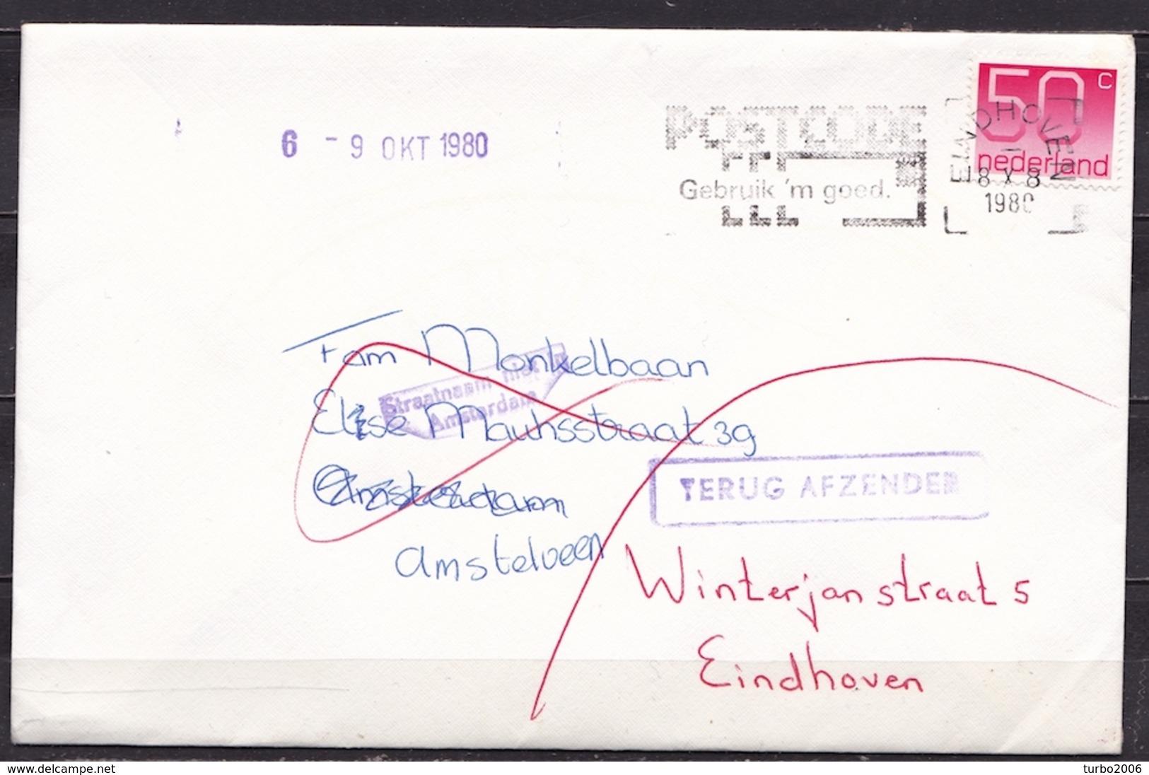"""1980 """"Straatnaam Niet In Amsterdam"""" En """"TERUG AFZENDER""""  Violette Stempels Op Envelop - Poststempels/ Marcofilie"""