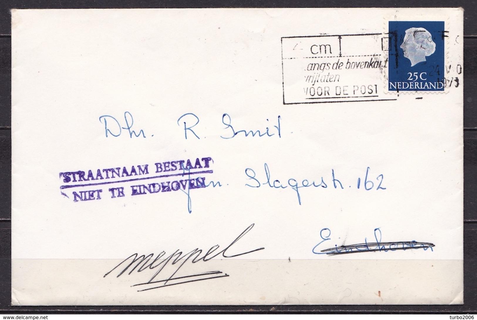 """1973 """"STRAATNAAM BESTAAT NIET TE EINDHOVEN""""  2 Regelig Violet Stempel Op Envelop Met Geschreven Meppel - Poststempels/ Marcofilie"""