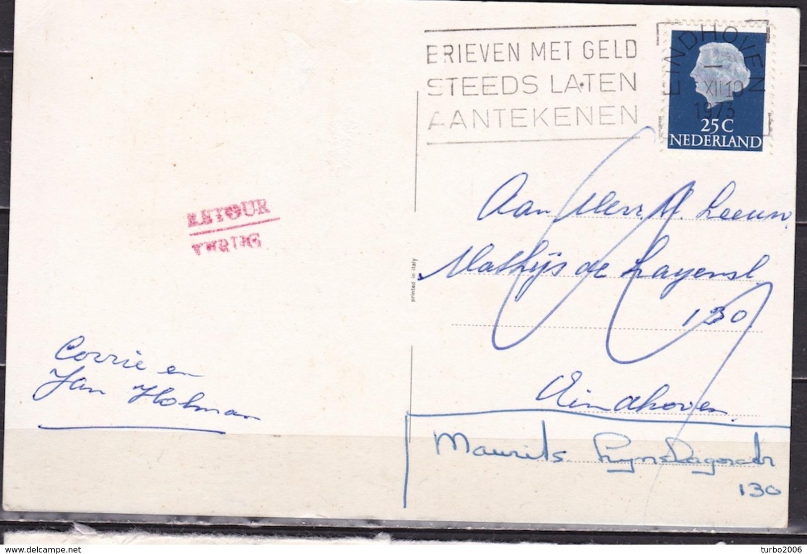 """1973 """"Retour  / Terug"""" 2 Regelig Rood Stempel Op Nieuwjaarskaart - Poststempels/ Marcofilie"""
