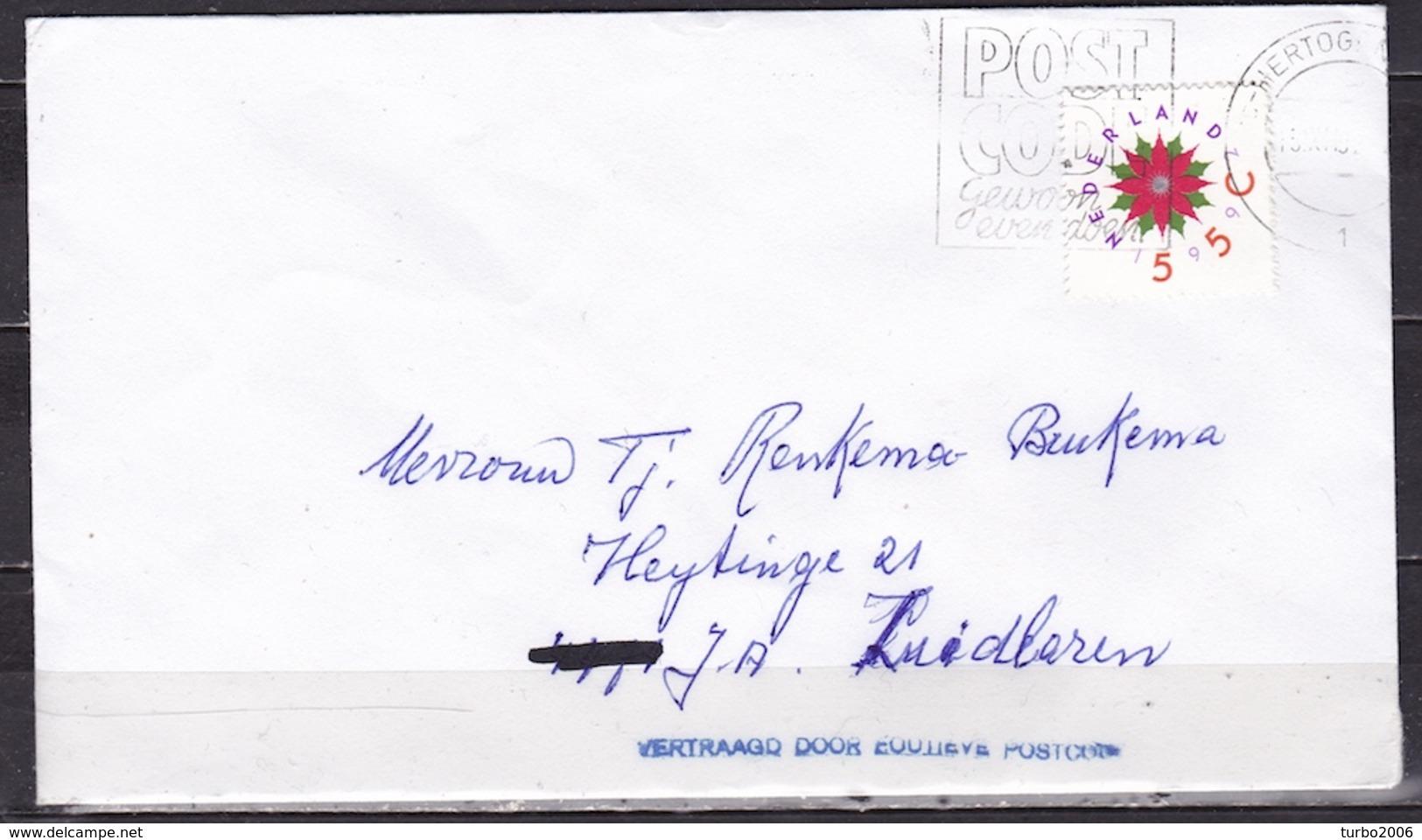 """1992 """"vertraagd Door Foutieve Postcode"""" Blauw Stempel Op Envelop - Poststempels/ Marcofilie"""