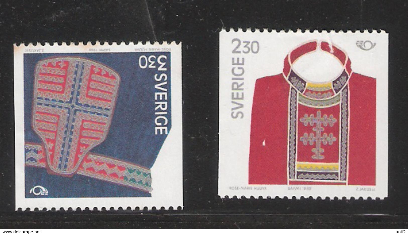 Sweden 1989 Norden: Parts Of Lapland Costumes, Chest Cloth, Belt Bag Mi  1537-1538  MNH(**) - Sweden