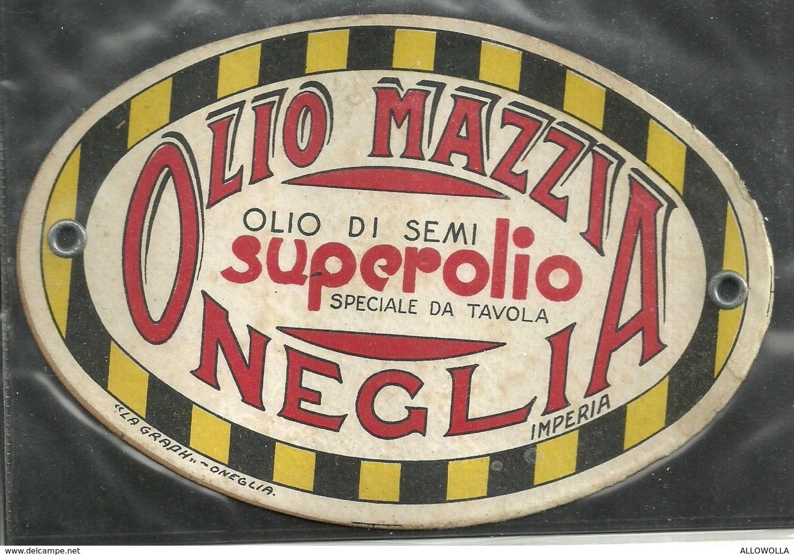 """1776 """" OLIO MAZZIA-OLIO DI SEMI-ONEGLIA-IMPERIA-CARTONCINO OVALE"""" ETICHETTA ORIG. - Unclassified"""