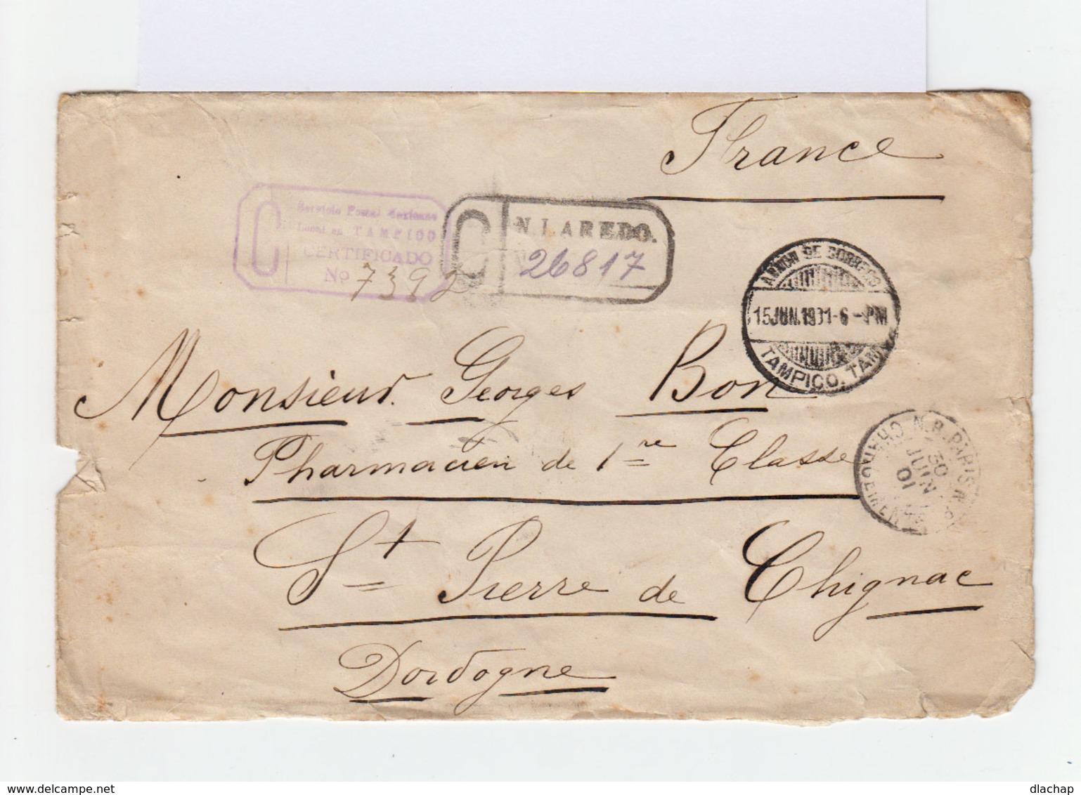 Sur Enveloppe Certificado Bloc De 6 Timbres 5 C. Bleus. CAD Tampico 1901.Cahet D'entrée Paris Chargement. (797) - Mexique