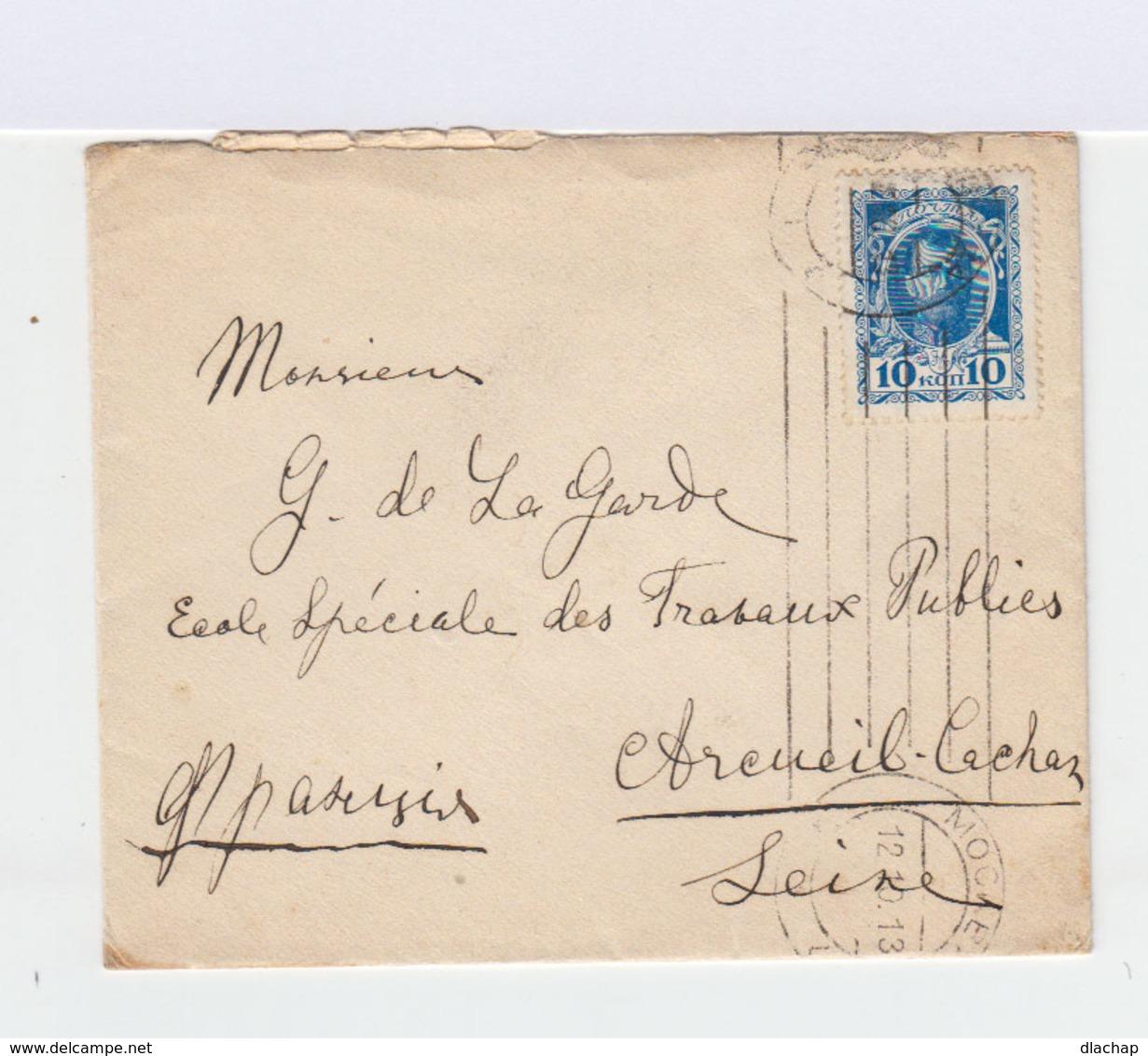 Enveloppe De Moscou à Arcueil Cachan. Timbre Nicolas II 10 K. Bleu CAD Mockba 1913 Et Lignes. (798) - 1857-1916 Empire