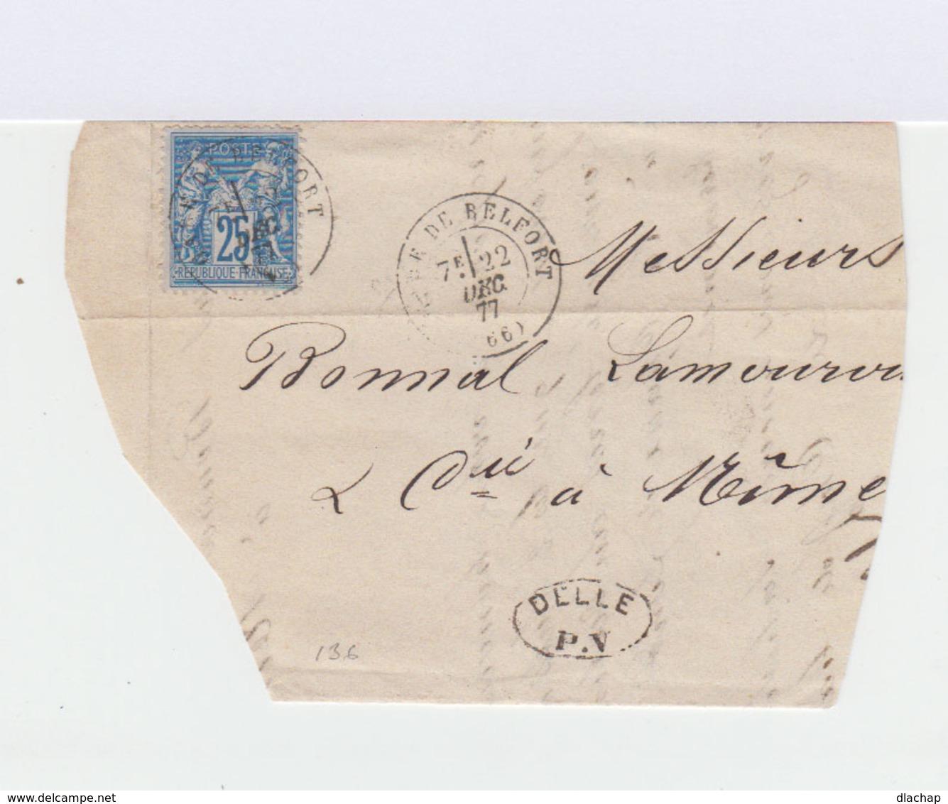 Sur Lettre Type Sage 25 C. Bleu Oblitéré CAD Terr. De Belfort 1877. Cachets Ambulant Et CAD Nîmes. (799) - Marcophilie (Lettres)