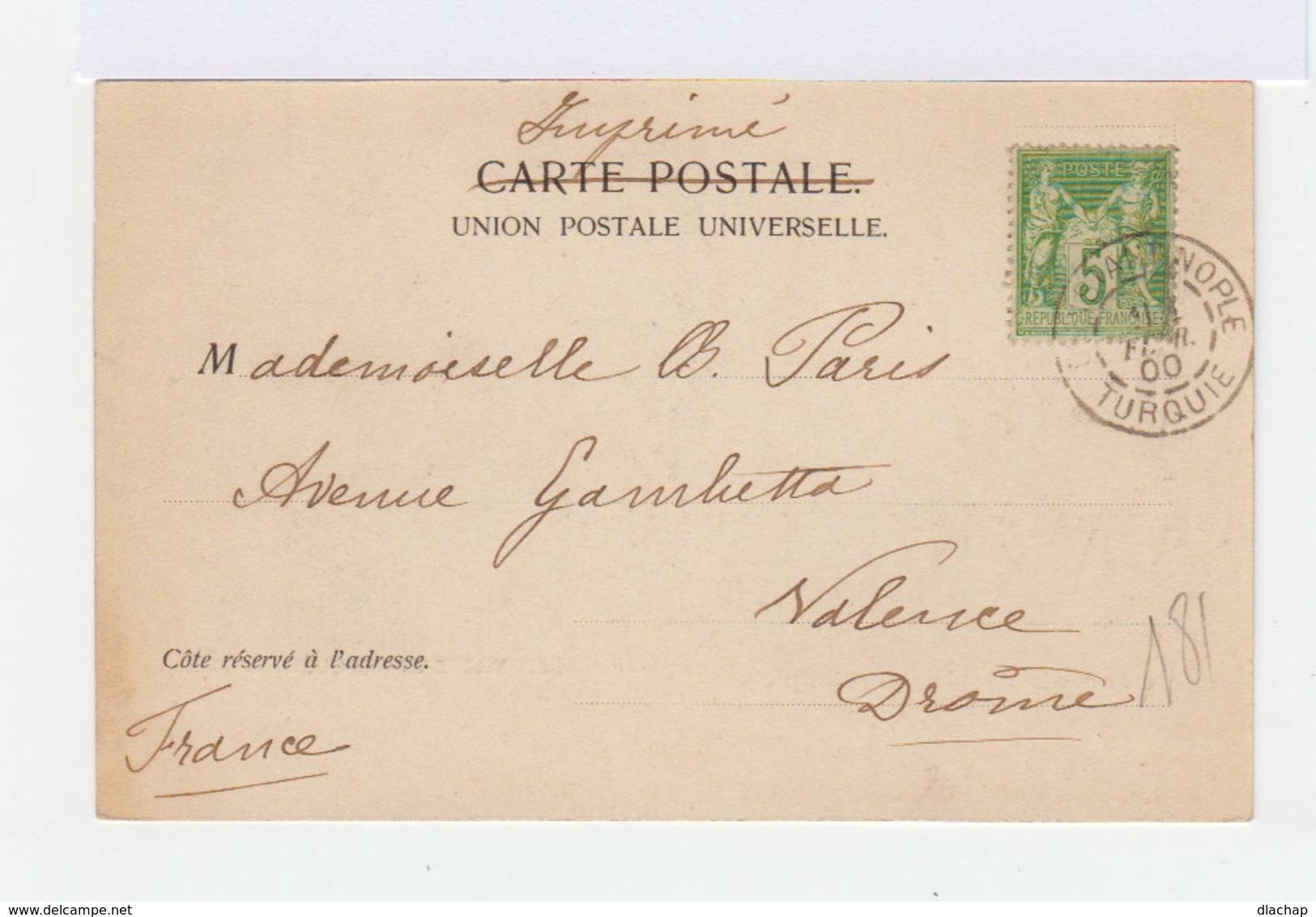 Sur Carte Postale De Constantinople Vers Valence Type Sage 5 C. Vert Jaune.. CAD Constantinople Turquie 1900. (800) - 1858-1921 Empire Ottoman