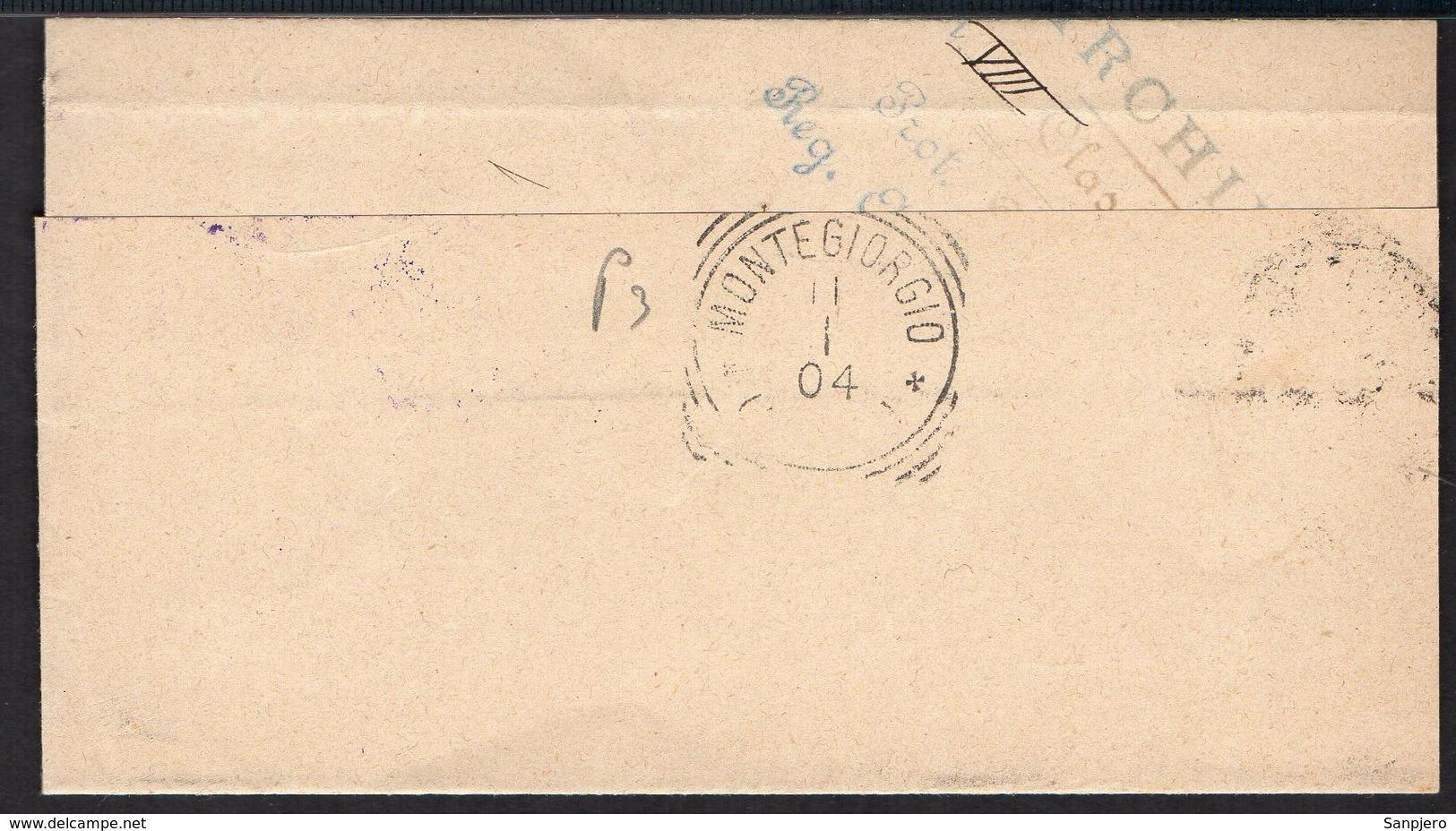 ITALY ITALIA ITALIEN 1904. Postal History Envelope Use By The Municipality Of FABRIANO MONTEGIORGIO - Italy