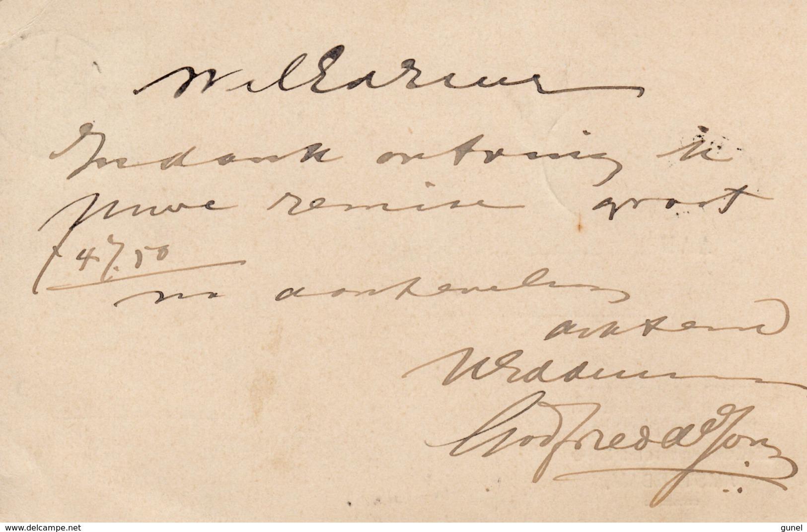 9 JUN 93  Correspondentiekaart Met Firmalogo  Met NVPH34  Van Anmsterdam Naar OOTMARSUM (kleinrond) - Periode 1891-1948 (Wilhelmina)