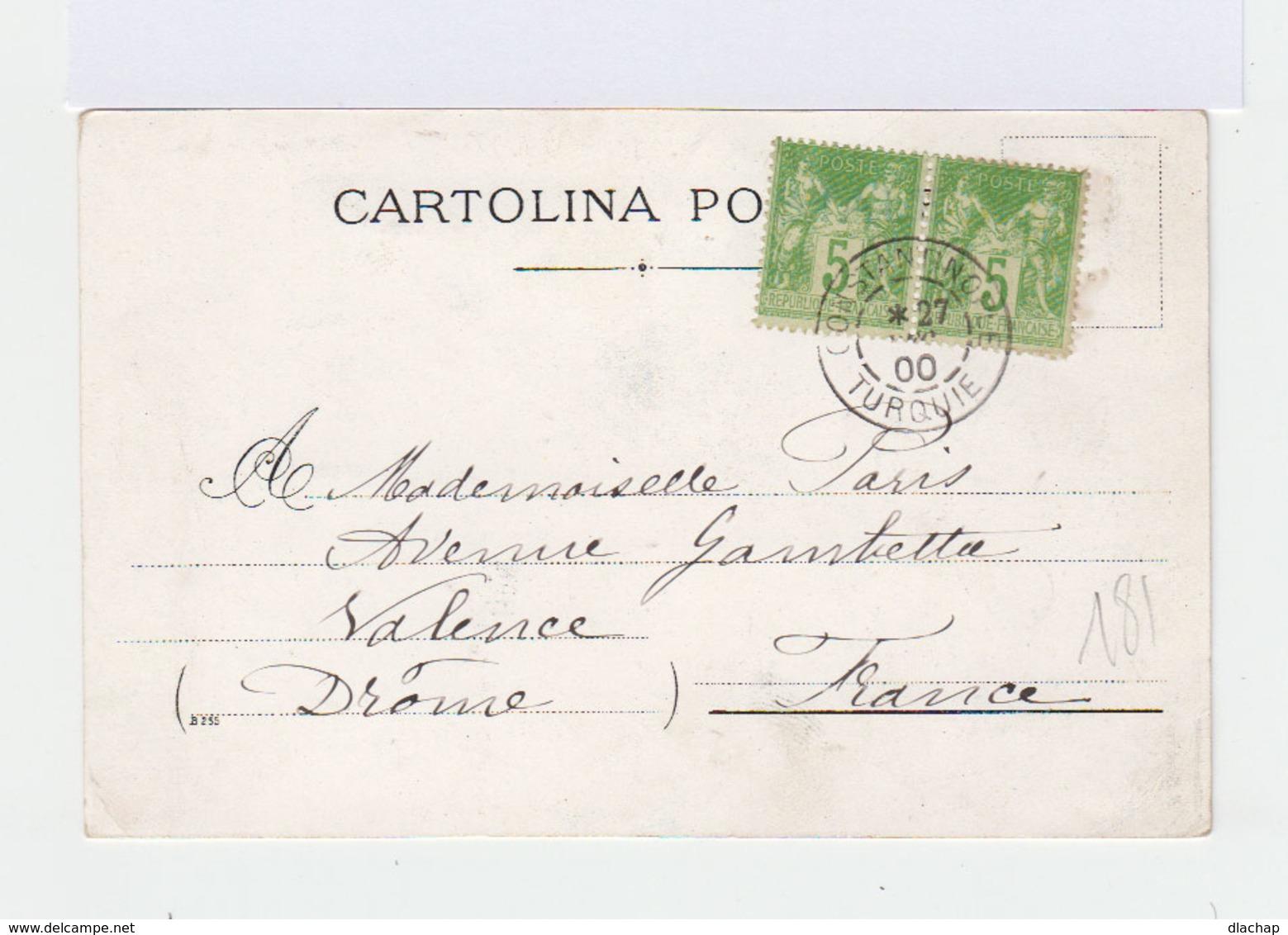 Sur Carte Postale De Turquie Vers Valence Paire De Type Sage 5 C. Vert Jaune. CAD Constantinople 1900. (801) - 1858-1921 Empire Ottoman