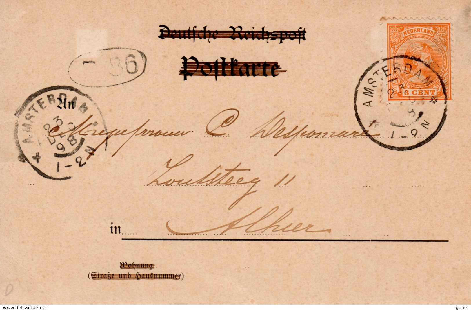 23 DEC 98    Ansicht Met NVPH34  Lokaal Te Amsterdam - Periode 1891-1948 (Wilhelmina)