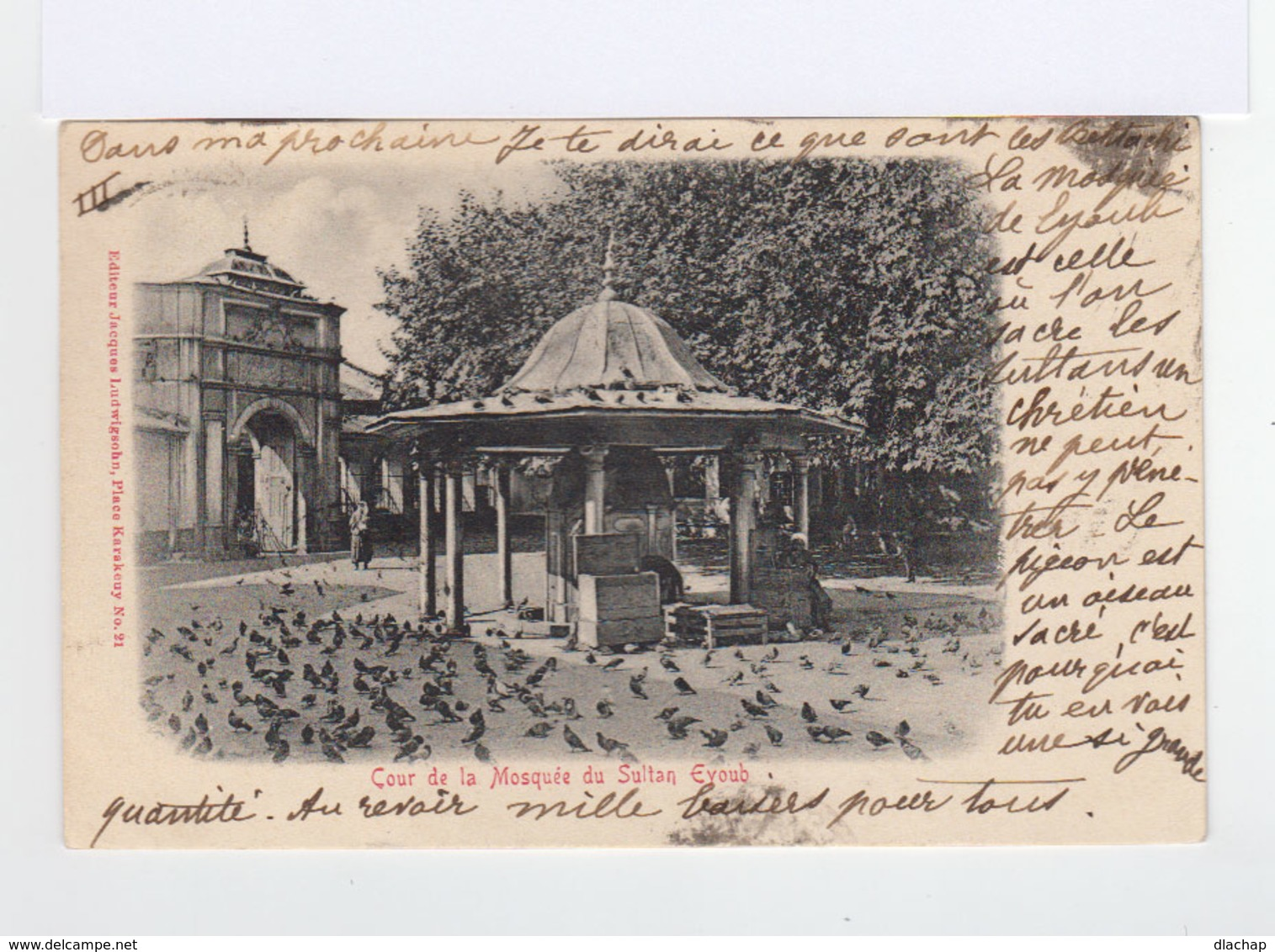 Sur Carte Postale De Turquie Vers Valence Type Sage 10 C. Noir S. Lilas. CAD Constantinople 1902. (803) - 1858-1921 Empire Ottoman