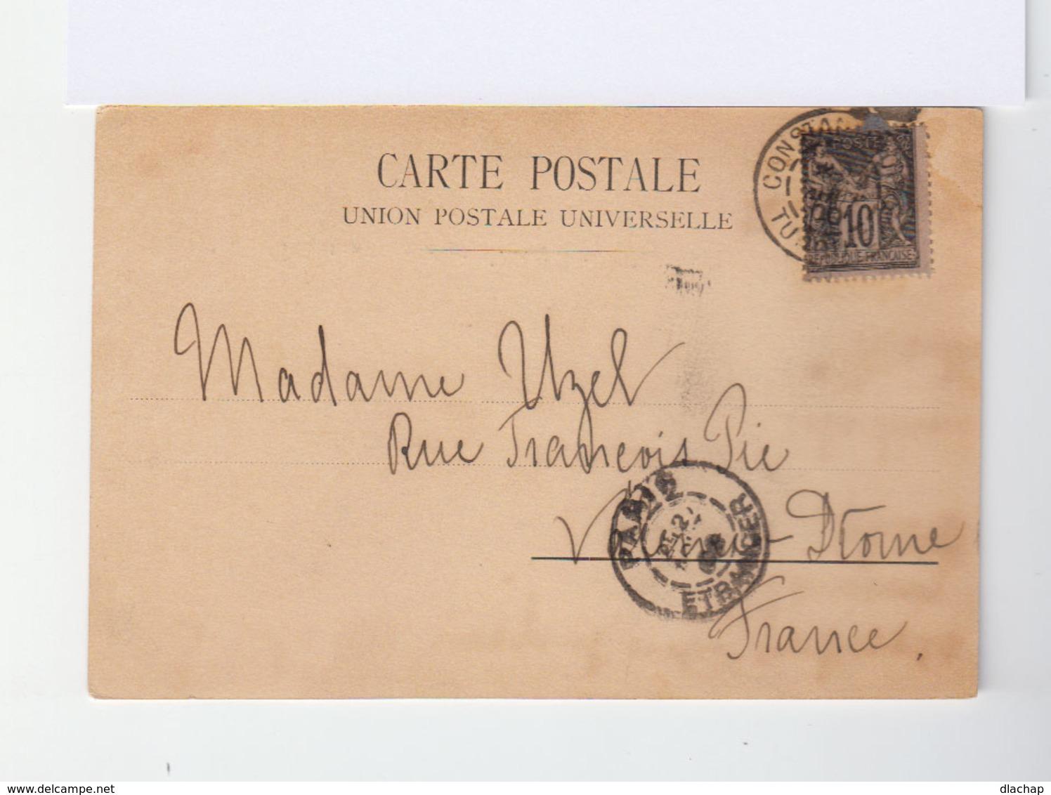 Sur Carte Postale De Turquie Vers Valence Type Sage 10 C. Noir S. Lilas. CAD Constantinople 1900. (805) - 1858-1921 Empire Ottoman