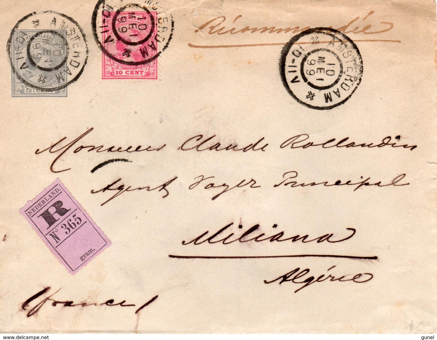 10 MEI 99 Aangetekende Envelop G 7 Met Bijfrankering NVPH 37 Van Amsterdam Naar Miliana (Algerije) - Periode 1891-1948 (Wilhelmina)