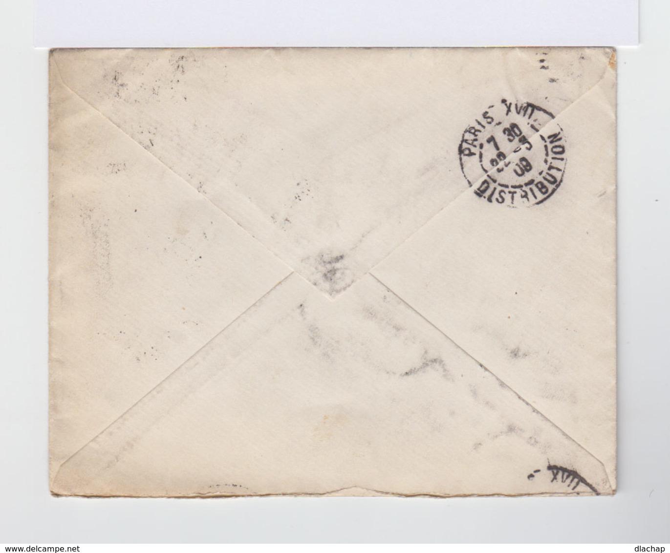 Enveloppe Moscou Vers Paris. Timbres Empire Russe Armoiries Paire De 5 K Lilas CAD Mockba 1909. (804) - 1857-1916 Empire