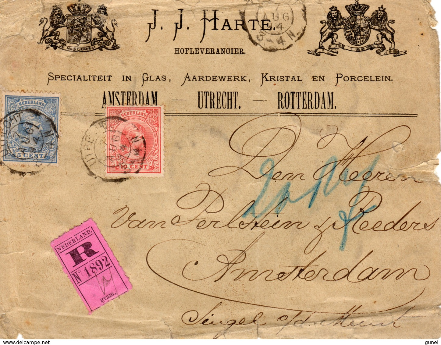 7 AUG 94 Aangetekende Envelop Met Firmalogo  Van Utrecht Naar Amsterdam Met NVPH 35 En 37 - Periode 1891-1948 (Wilhelmina)
