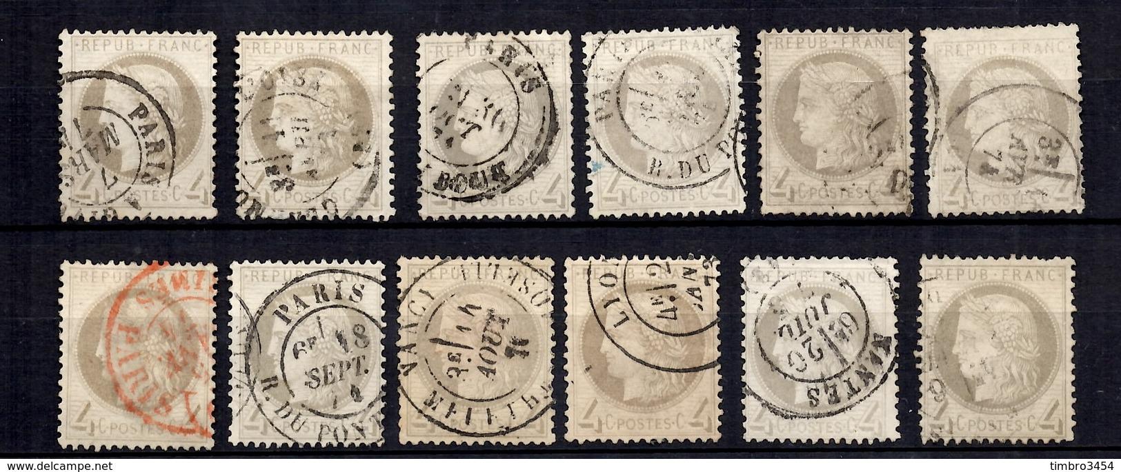 France YT N° 52 Douze Timbres Oblitérés. Belles Nuances. B/TB. A Saisir! - 1871-1875 Ceres