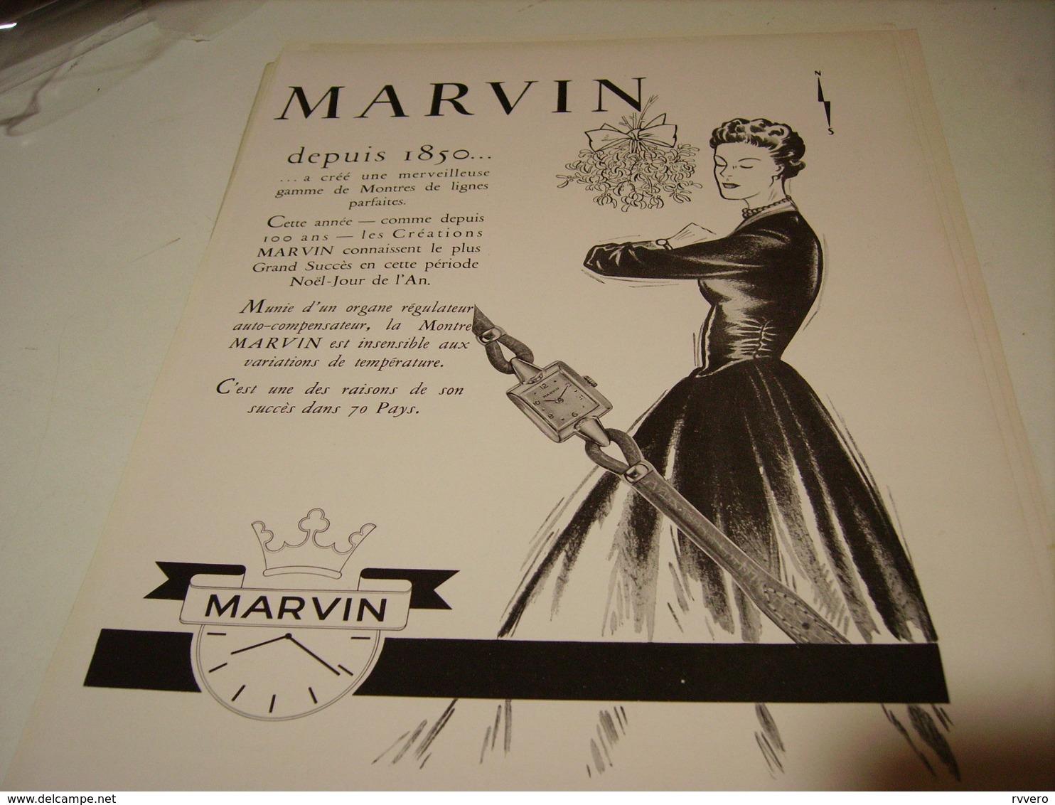 ANCIENNE PUBLICITE MONTRE MARVIN 1950 - Autres