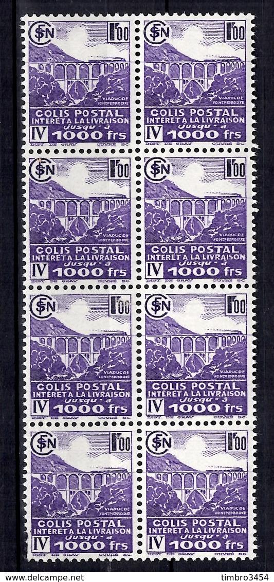 France Colis Postaux Maury N° 183A Non-émis En Bloc De Huit Neufs ** MNH. Rare! TB. A Saisir! - Colis Postaux