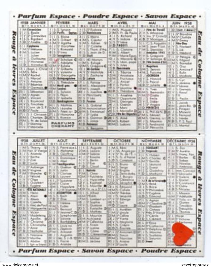 35449-ZE-59-PARIS-PARFUMS La Choque CAMBRAI-PARFUMS CHERAMY PARIS-calendrier 1958--pliable En Deux - Calendriers