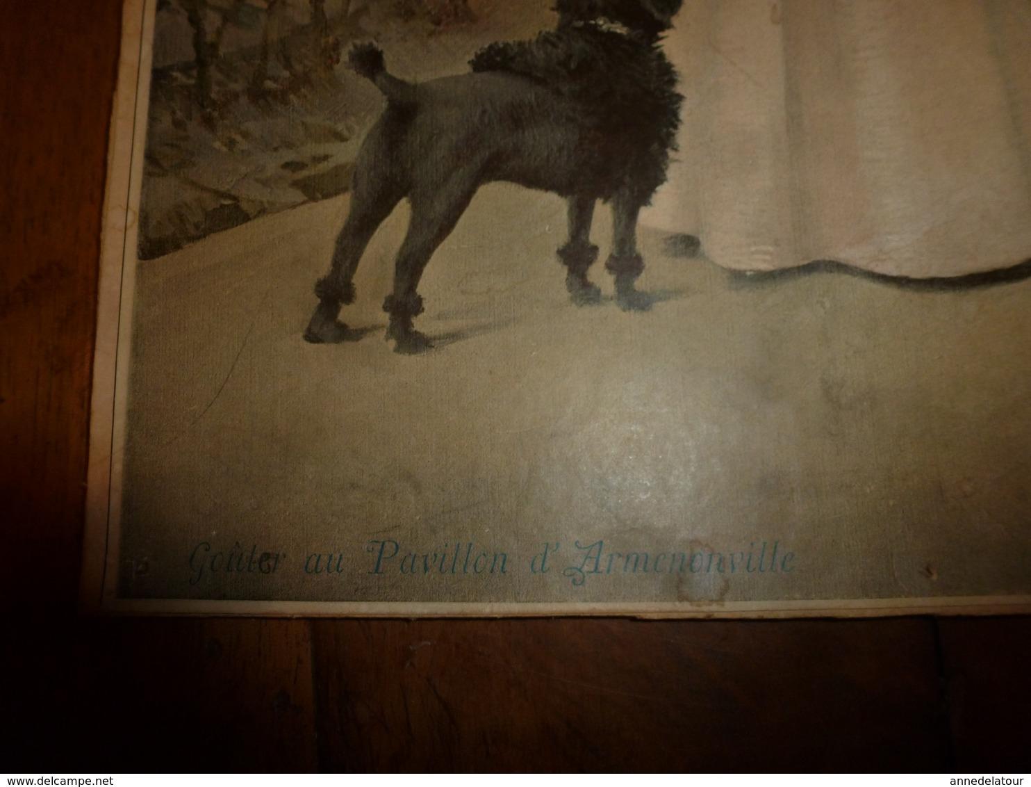 édit. Origine 1895 Rare Plaque Publicitaire Du FIGARO ILLUSTRÉ 52cm X 32cm :Litho: Gouter Au Pavillon D'Armenonville - Plaques En Carton