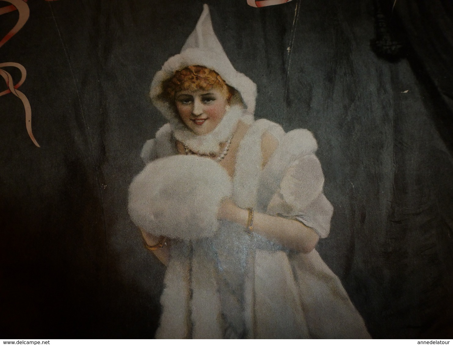 édit. Origine 1895 Rare Plaque Publicitaire Du FIGARO ILLUSTRÉ 52cm X 32cm :Litho: Belle Jeune Fille , Signature En Bas - Plaques En Carton