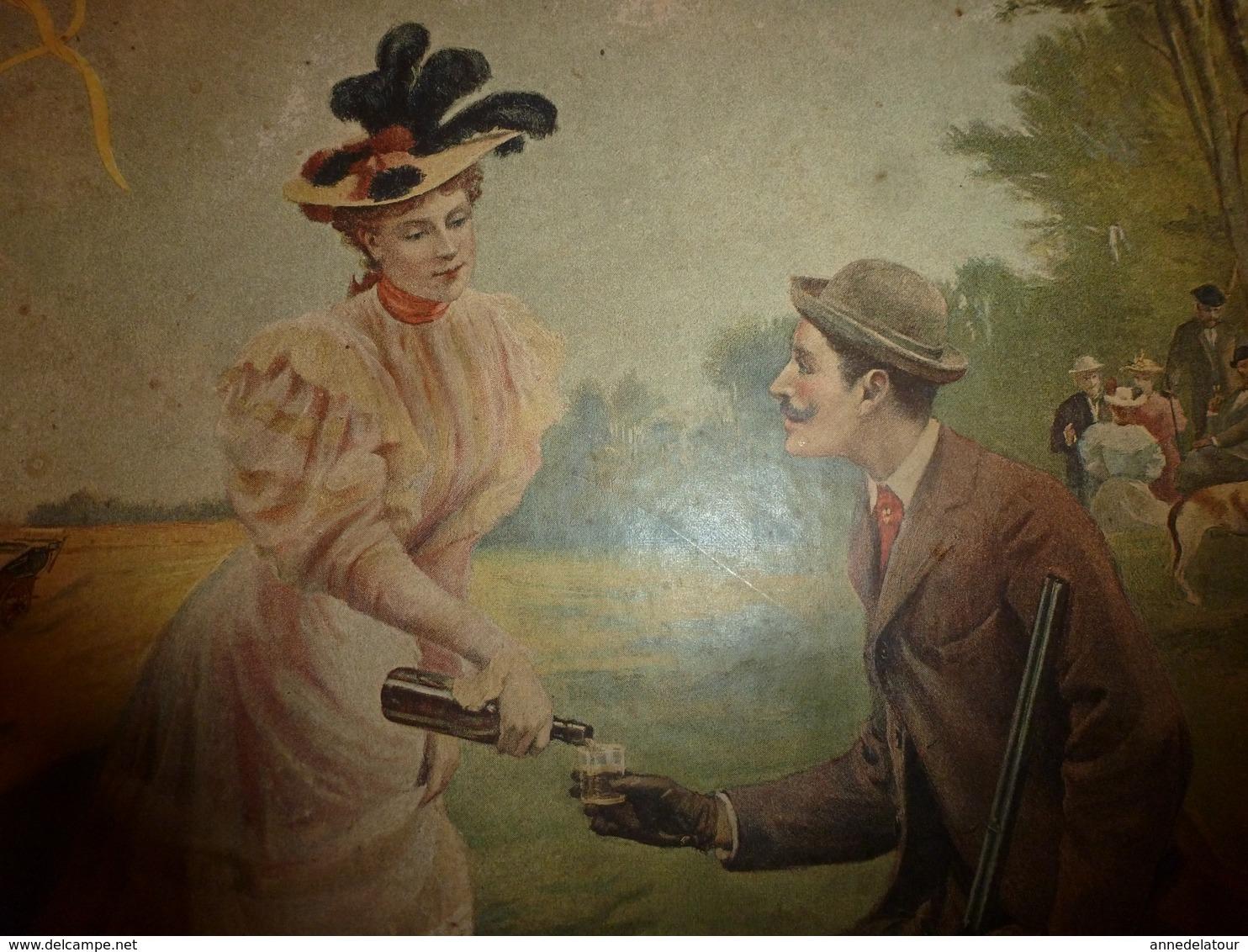 édit. Origine 1895 Rare Plaque Publicitaire Du FIGARO ILLUSTRÉ 52cm X 32cm :Litho: La Chasse, Signé Maxime Faivre - Plaques En Carton