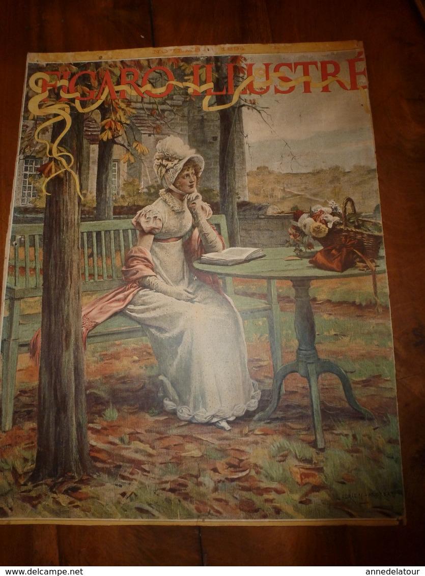 édit. Origine 1894 Rare Plaque Publicitaire Du FIGARO ILLUSTRÉ 52cm X 32cm :Litho: Jeune Femme élégante, Signé A.Moreau - Plaques En Carton