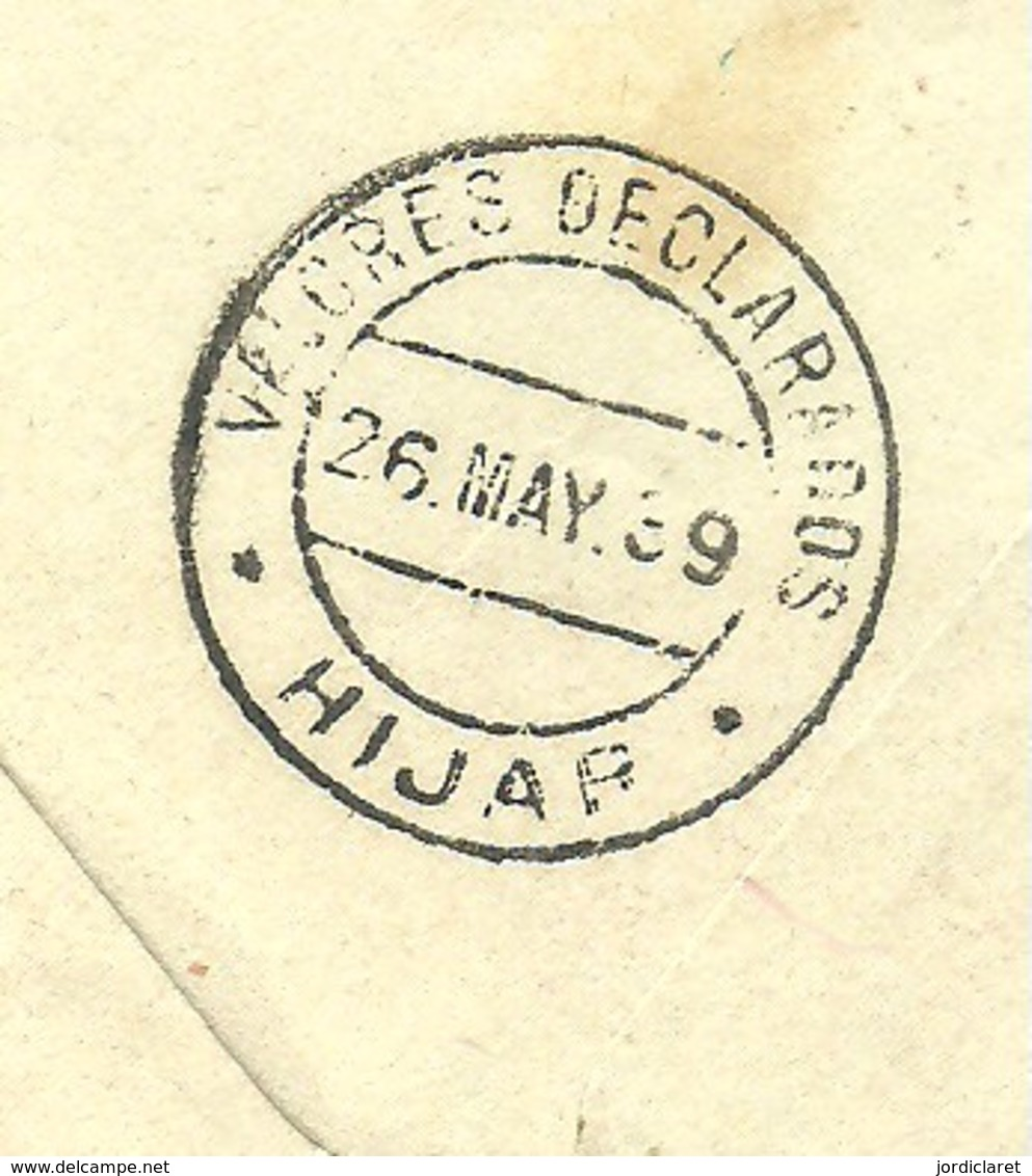 CARTA  1939 VALORES DECLARADOS  HIJAR CENSURA MILITAR - Marcas De Censura Nacional