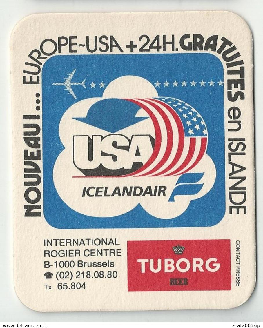 Bierviltje - USA Icelandair - Intern. Rogier Centre Brussel - Tuborg - Sous-bocks