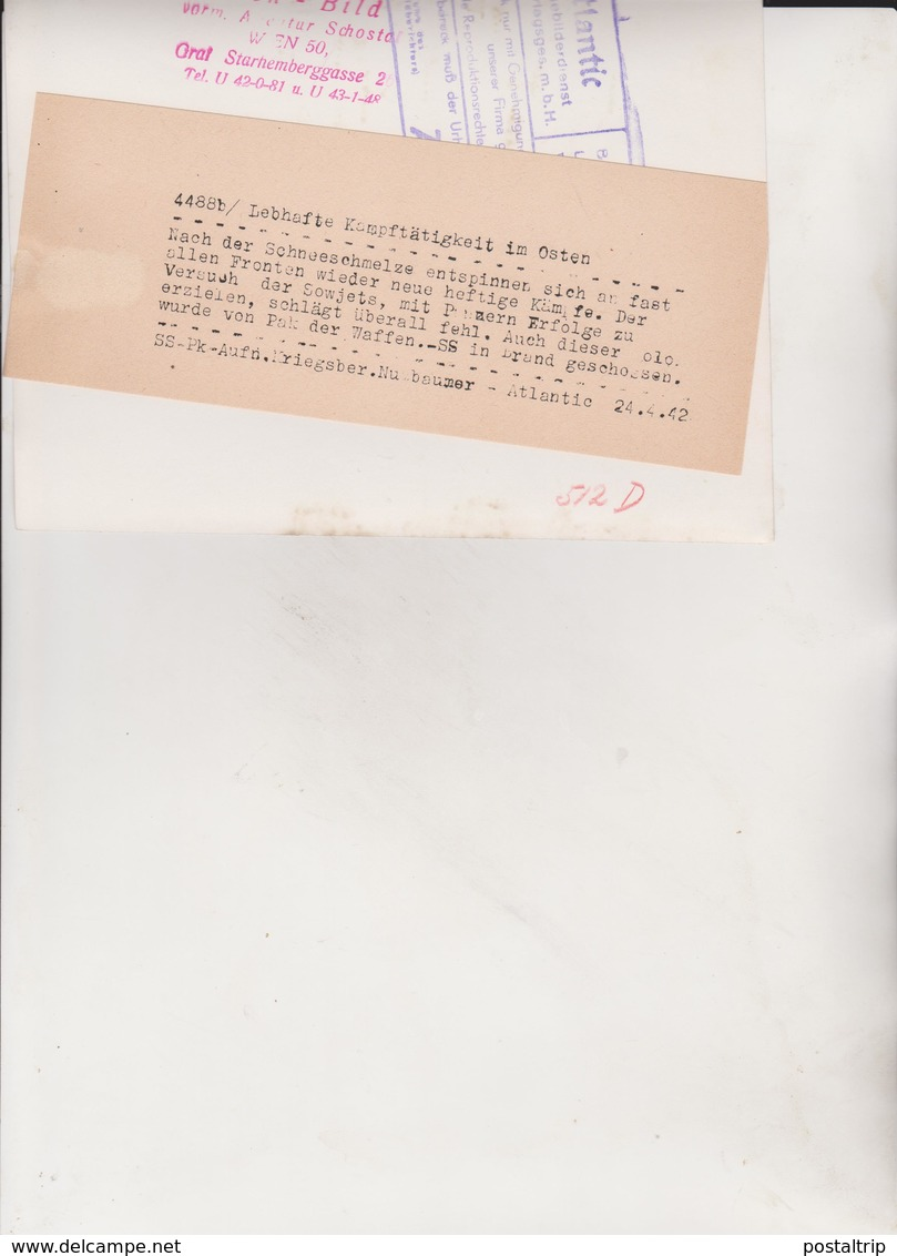 LEBHAFTE KAMPFTATIGKEIT IM OSTEN  SOWJETS WAFFEN SS  1942   NUEBAUMER  ATLANTIC   FOTO DE PRESSE - Guerre, Militaire