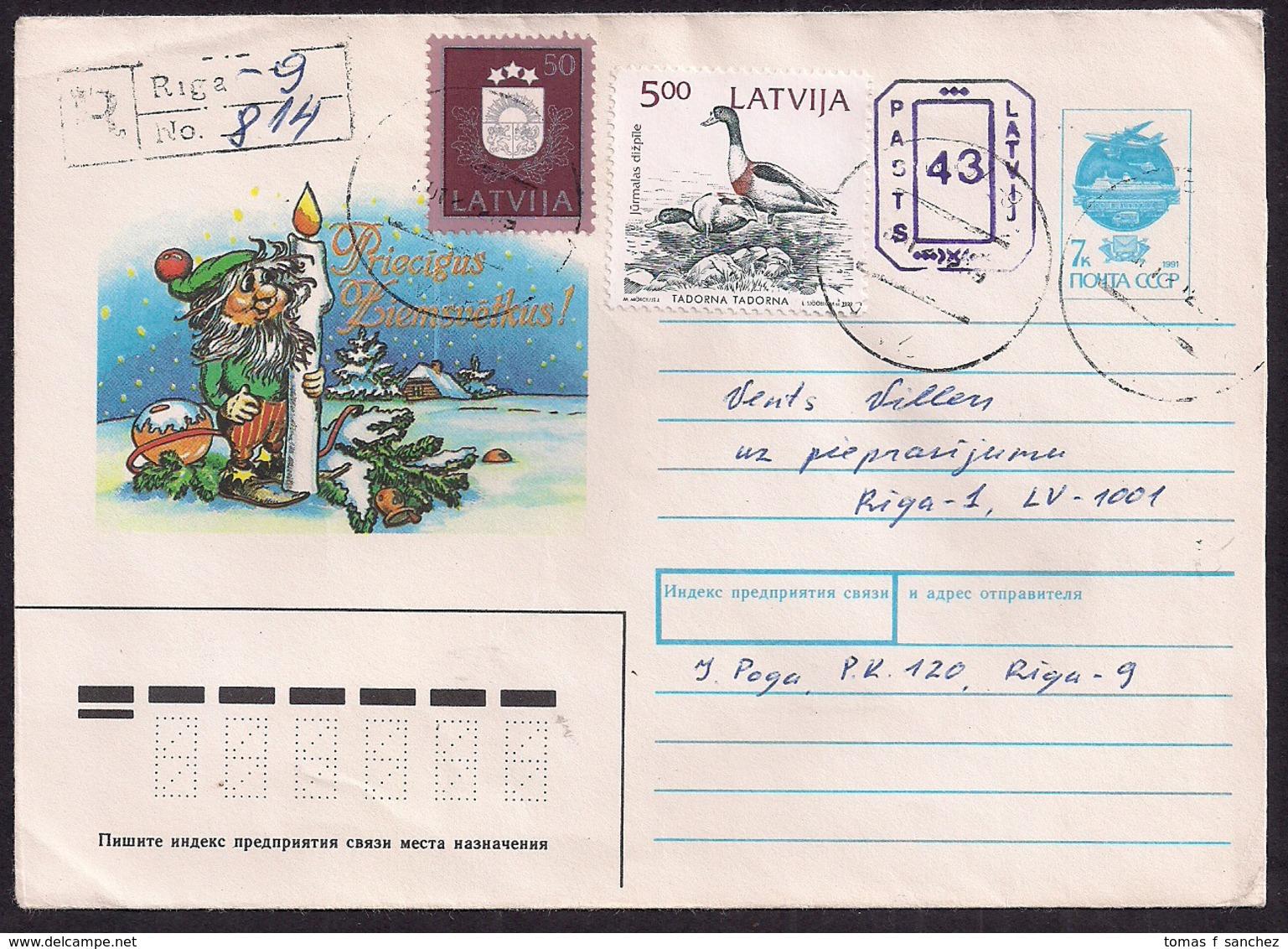Estonie - 1992 - Poste Aérienne - Aerogramme Russe Avec Timbres Estoniens - Estonie
