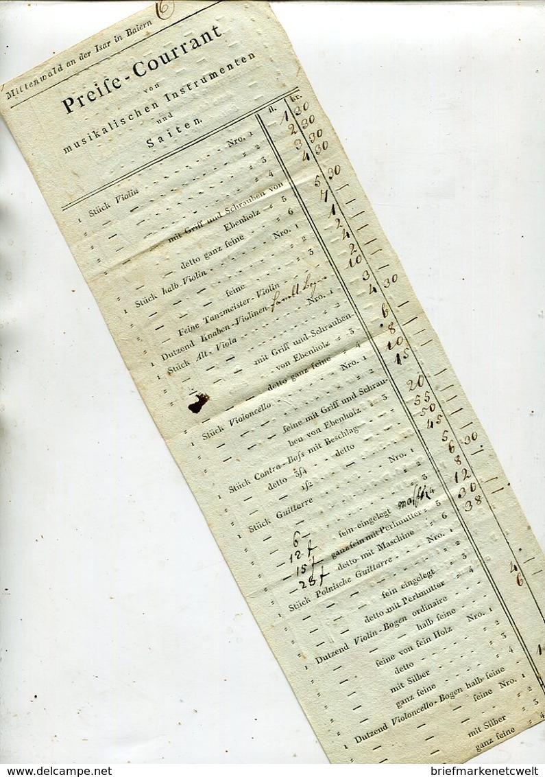 Preisliste Fuer Musikalische Instrumente / Ex Mittenwald, 2 Seiten, Sehr Int. (26100) - Instrumentos De Música