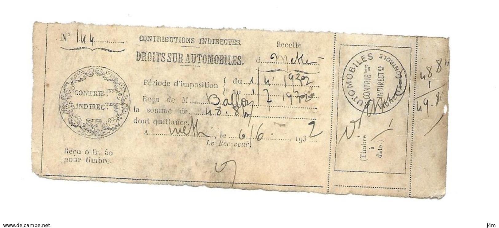 TIMBRES FISCAUX....RARE..VIGNETTE De CONTROLE AUTOMOBILES De 1932, Attenant à La Quittance - Fiscaux